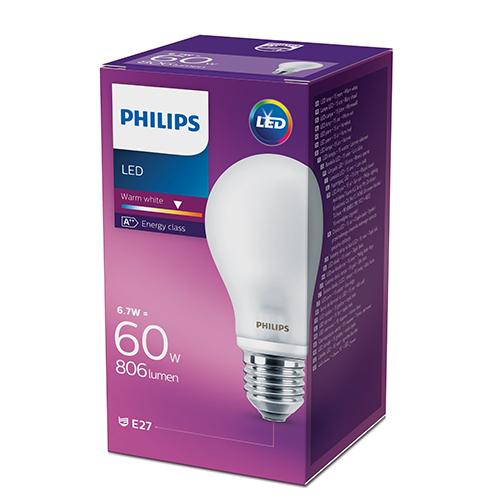 Philips LED classic bulb 7W,60W váltó A60 806lm E27 2700K nem szabályozható opál búrás fényforrás 8718696472187