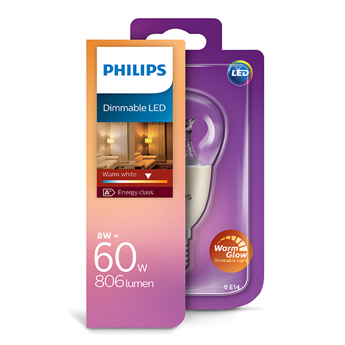 PHILIPS Consumer LED luster 8-60W P50 E14 827 CL WarmGlow