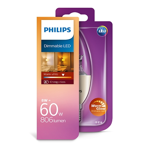 PHILIPS Consumer LED candle 8-60W B40 E14 827 CL WarmGlow