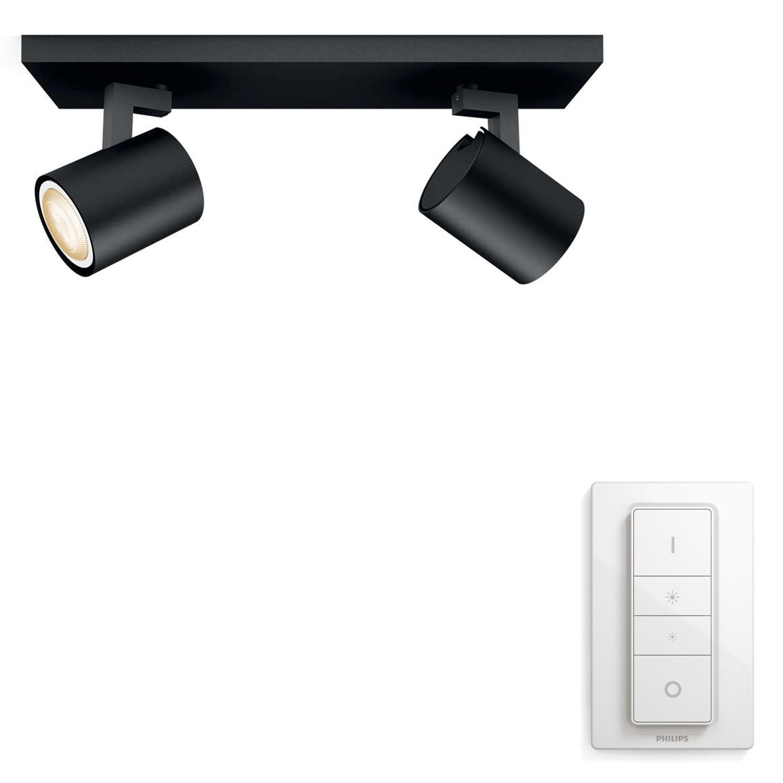 PHILIPS Runner Hue bar/tube black 2x5.5W GU10 White Ambiance spot + DIMSwitch 5309230P7