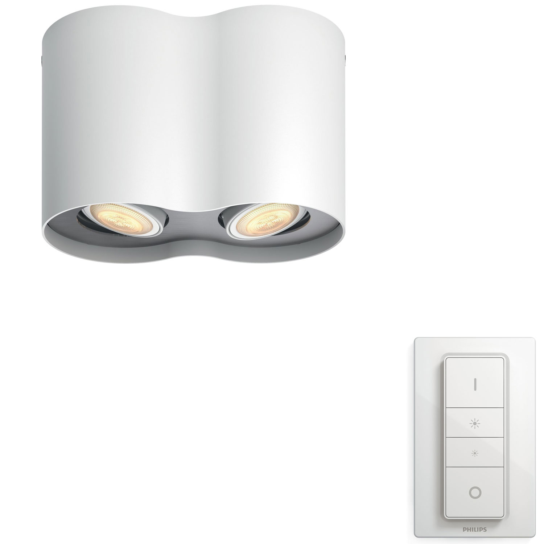 PHILIPS Pillar Hue plate/spiral white 2x5.5W GU10 White Ambiance spot + DIMSwitch 5633231P7