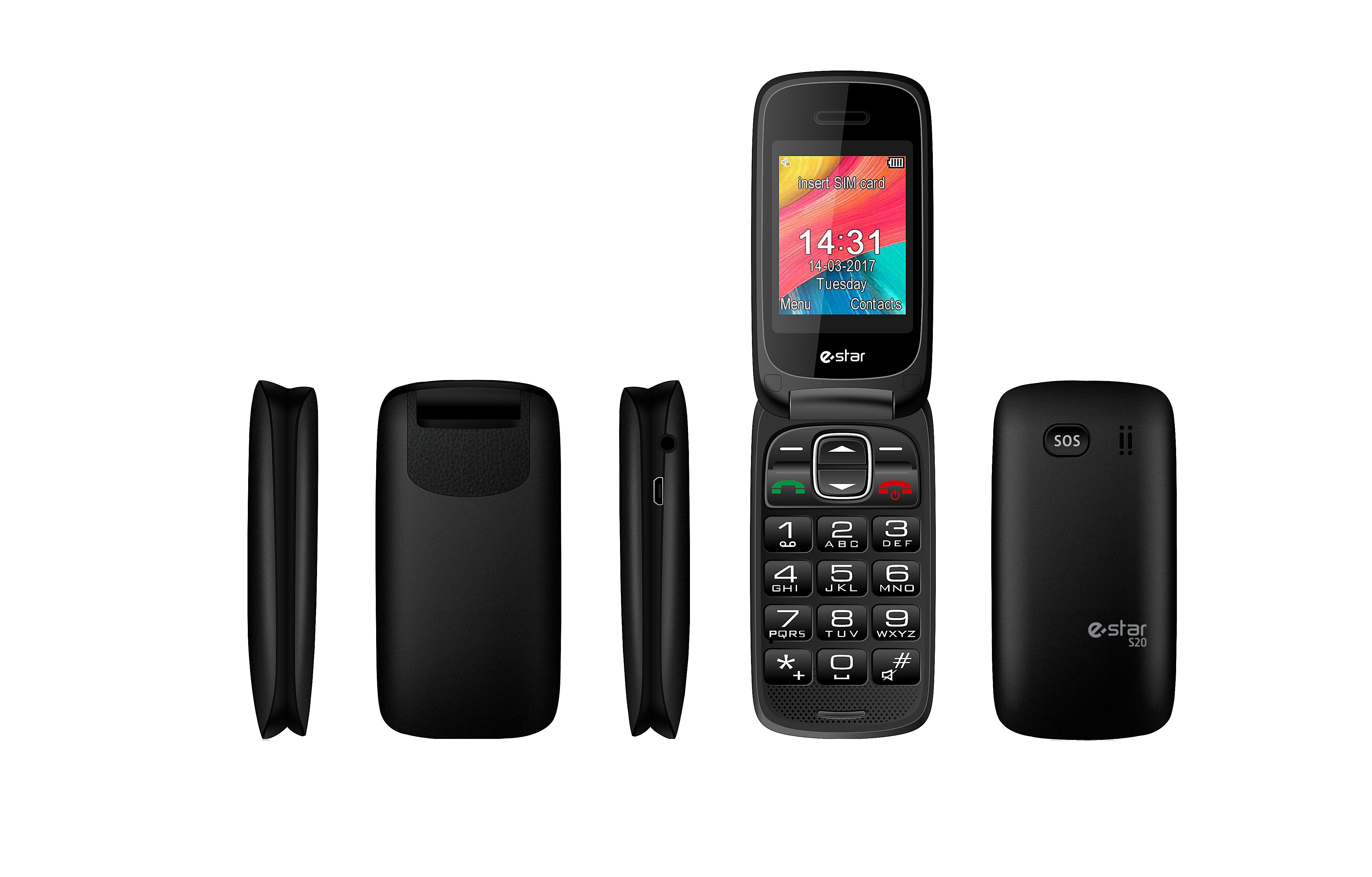 eSTAR S20 SENIOR CLAMSHELL PHONE BLACK